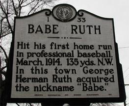 Babe Ruth HR marker